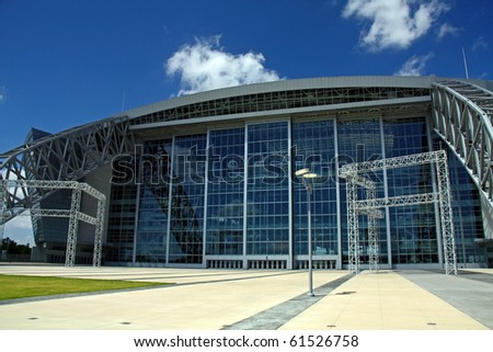 ARLINGTON - JUNE 17: Taken at Cowboys Stadium, Arlington, TX., on Thursday, June 17, 2010. A view of the entrance to the stadium. Super Bowl XLV will be played here in 2011.