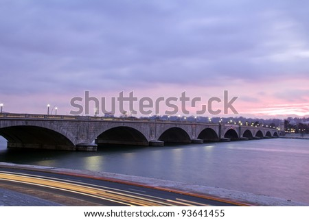 Arlington Memorial Bridge in Washington D.C. , at dusk - stock photo