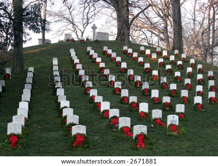 Arlington National Cemetery Decorated for Christmas - stock photo