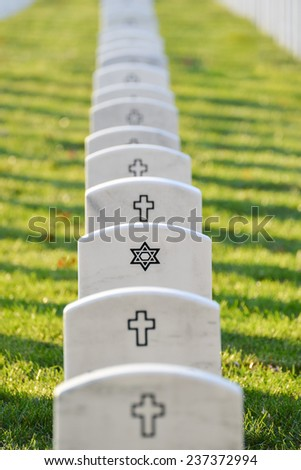 Arlington National Cemetery gravestones in autumn - Washington DC, USA  - stock photo
