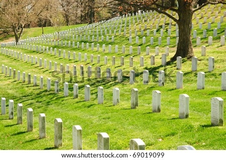 Arlington National Cemetery, rows of white grave stones - stock photo