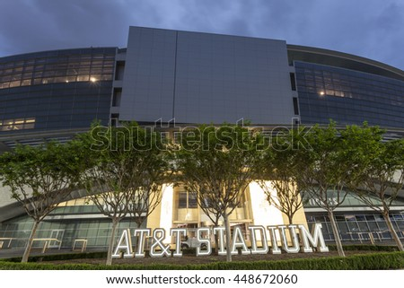 ARLINGTON, USA - APR 18, 2016: Exterior view of the AT&T Stadium, formerly known as Cowboys Stadium in Arlington. Texas, United States - stock photo