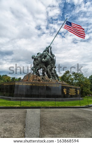 ARLINGTON, VA - AUGUST 13: The Marine Corps War Memorial in Arlington, VA on August 13, 2013. This military memorial statue honors all Marines who lost their lives in the defense of the USA since 1775 - stock photo