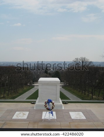 Arlington, VA, September 2015, A single wreath is laid at the tomb of the unknown soldier - stock photo