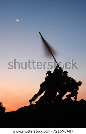 Arlington, VA, USA August 6, 2010 The sun rises on the Marine Corps Memorial, also known as the Iwo Jima Memorial, in Arlington, Virginia