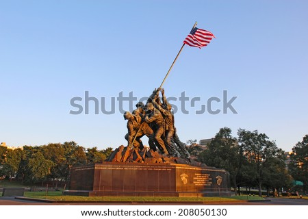 ARLINGTON, VIRGINIA - JULY 25 2014: The Marine Corps War memorial in Arlington, Virginia. This monument, also called the Iwo Jima Memorial, was built in 1951 to honor Marine war casualties since 1775. - stock photo
