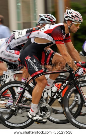 ARLINGTON, VIRGINIA - JUNE 13: A cyclist competes in the U.S. Air Force Cycling Classic on June 13, 2010 in Arlington, Virginia