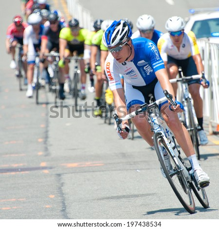 ARLINGTON, VIRGINIA - JUNE 8: Cyclists compete in the elite men's Crystal Cup race at the Air Force Cycling Classic on June 8, 2014 in Arlington, Virginia