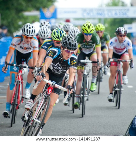 ARLINGTON, VIRGINIA - JUNE 8: Cyclists compete in the elite women's race at the U.S. Air Force Cycling Classic on June 8, 2013 in Arlington, Virginia