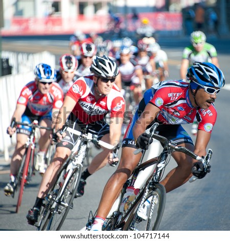 ARLINGTON, VIRGINIA - JUNE 9: Cyclists compete in the Masters 40+ race at the U.S. Air Force Cycling Classic on June  9, 2012 in Arlington, Virginia