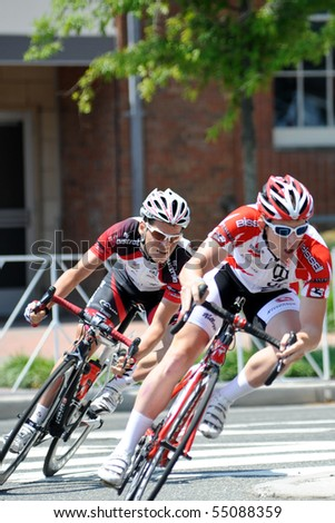 ARLINGTON, VIRGINIA - JUNE 12: Cyclists compete in the U.S. Air Force Cycling Classic on June 12, 2010 in Arlington, Virginia - stock photo