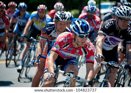 ARLINGTON, VIRGINIA - JUNE 10: Unidentified cyclists compete in the men's pro race at the U.S. Air Force Cycling Classic on June 10, 2012 in Arlington, Virginia