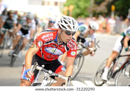 ARLINGTON, VIRGINIA - MAY 30: An unidentified cyclist competes in the U.S. Air Force Cycling Classic on May 30, 2009 in Arlington, Virginia.
