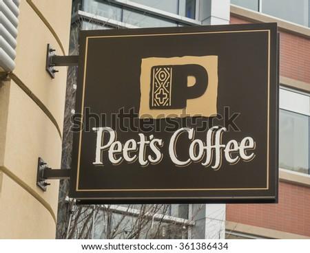 ARLINGTON, VIRGINIA, USA - JANUARY 7, 2016: Peet's Coffee shop sign in Clarendon neighborhood. - stock photo