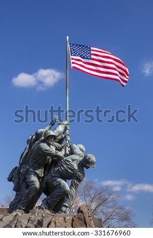 ARLINGTON, VIRGINIA, USA - MARCH 4, 2013:  Iwo Jima U.S. Marine Corps War Memorial in Rosslyn, a military memorial statue. - stock photo