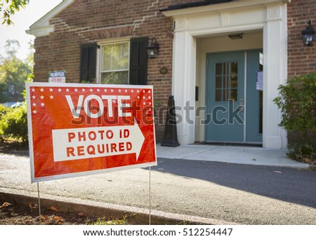 ARLINGTON, VIRGINIA, USA - NOVEMBER 8, 2016: Vote sign at polling place on presidential election day.