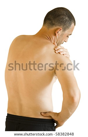 arm ache sports injury - young man having neck and shoulder ache making massage - stock photo