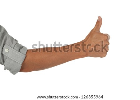 arm and hand showing a thumbs up gesture isolated on white - stock photo