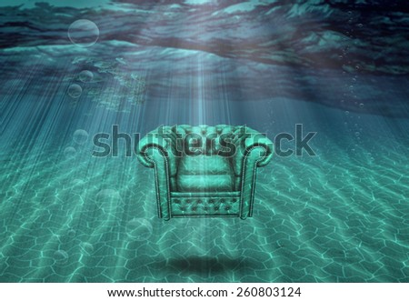 Arm chair floats above sea bottom - stock photo