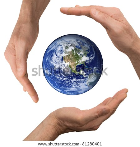 arm hold earth - stock photo