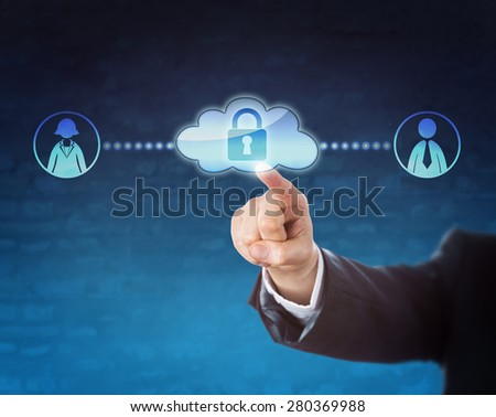 Arm in business suit reaching to touch a locked cloud icon linked to two office worker symbols, one female, one male. Metaphor for mobile technology, privacy, human resources and gender. Blue ground. - stock photo