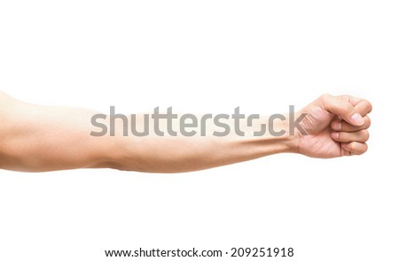 Arm in fist action on white background