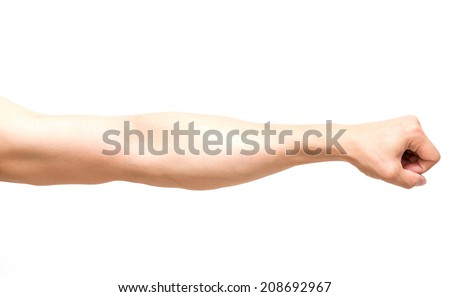 Arm in fist action on white background, body par