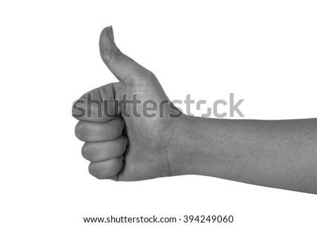 Arm of young girl on white background close up. Toned. - stock photo