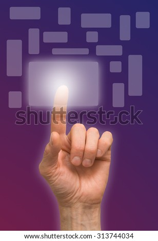 arm press the button, window - stock photo