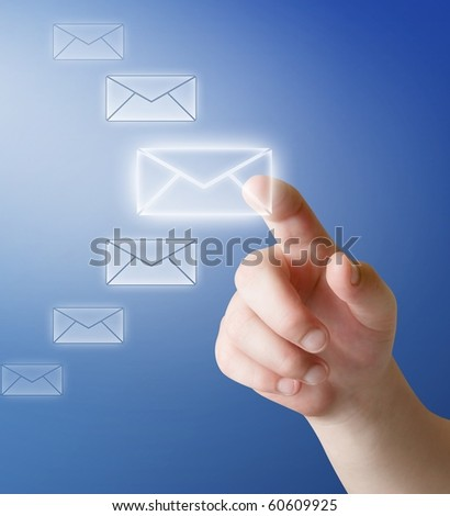 arm push button in envelope icon on touch screen - stock photo