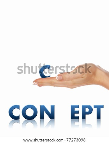 Arm that holds a single letter of the word. Business concept - stock photo