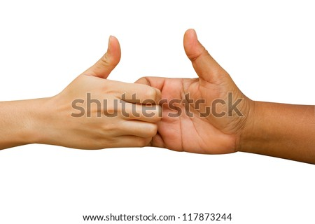 arm wrestling between man and woman on white background - stock photo