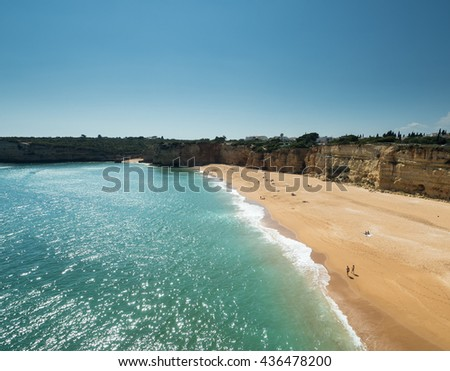 ARMACAO DE PERA, PORTUGAL -MAY 18: A view of coast Algarve near cityArmacao de Pera in the south of the country, Portugal, 2016 - stock photo