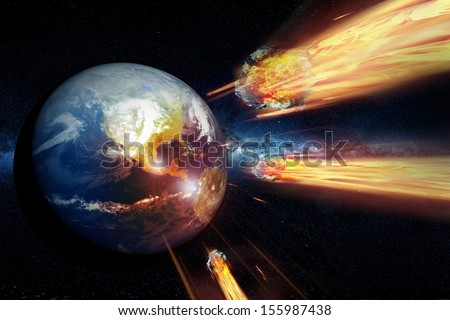 Armageddon - End of the World. Asteroids Heading and Hitting the Earth. End of the World Theme.  - stock photo