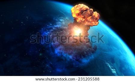 Armageddon. Nuclear bomb or asteroid impact creates a nuke mushroom - stock photo