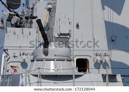 Armament on the deck of a modern warship, nobody