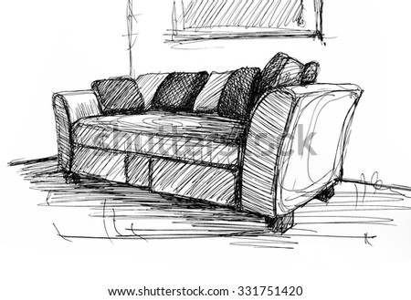 Armchair against a wall monochrome drawing, sketch image