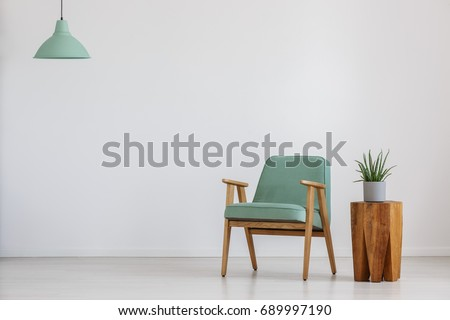 Armchair and potted plant in a room with mint lampshade