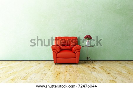 Armchair and roses - stock photo