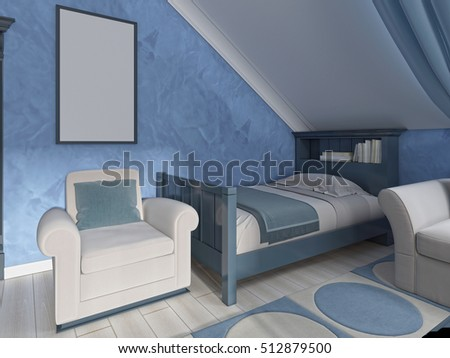 Armchair beside the bed with mockup poster on the wall. 3D render.