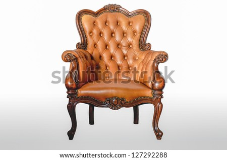 armchair brown genuine leather classical style sofa - stock photo