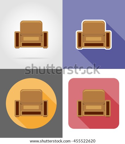 armchair furniture set flat icons illustration isolated on white background - stock photo