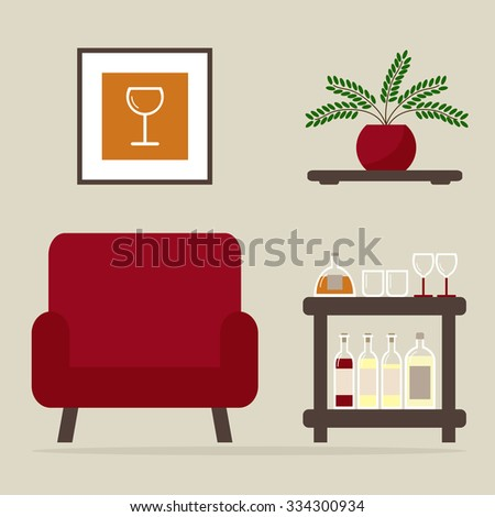Armchair with home bar. Living room interior design. Modern furniture isolated icons: armchair, bar table, shelf. Wooden furniture on background. Flat style illustration. - stock photo
