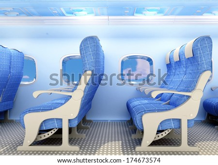 Armchairs for passengers on the plane. - stock photo
