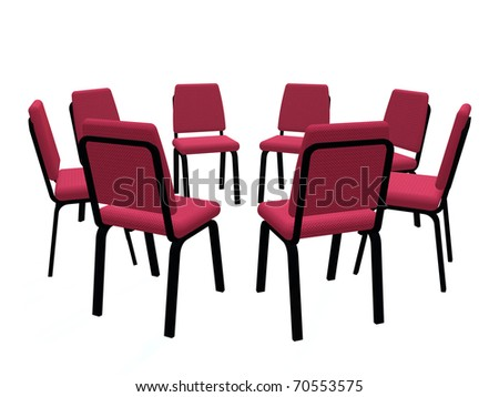 Armchairs placed on a circle. It is isolated on a white background