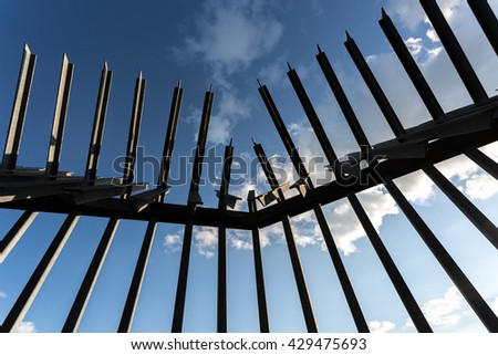 Armed fence on top of Humboldthain flak tower / Berlin Wedding