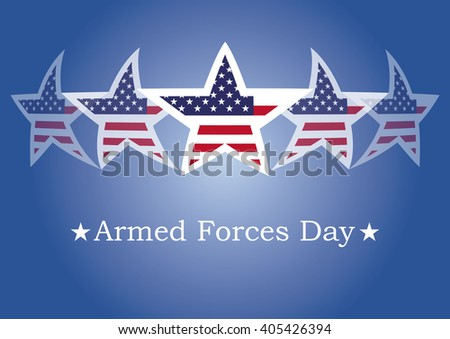 Armed Forces Day. Background with American flag. Festive illustration. Blue background with American stars - stock photo