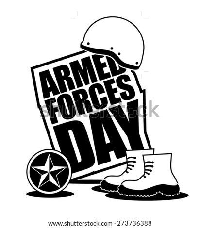 Armed Forces Day icon royalty free stock illustration for greeting card, ad, promotion, poster, flier, blog, article, social media, marketing - stock photo