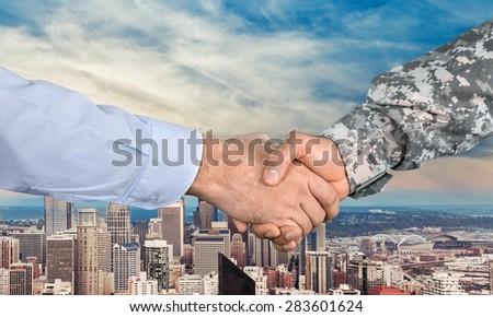 Armed Forces, Veteran, Handshake. - stock photo