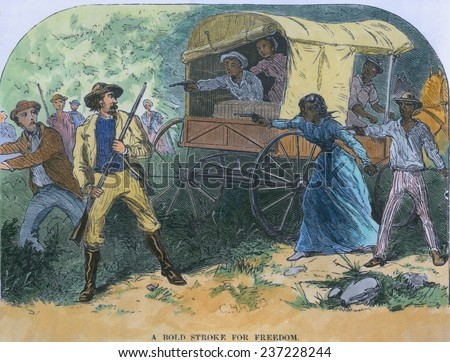 Armed fugitive slaves defend themselves against slave-catchers, Maryland 1855. Engraving from William Still's history UNDERGROUND RAILROAD 1872 with modern watercolor. - stock photo
